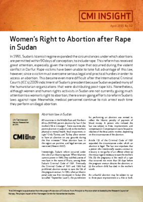 Sudan: Women's Right to Abortion after Rape in Sudan: CMI Insight, 2015
