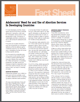 Adolescents' Need for and Use of Abortion Services In Developing Countries: Guttmacher Institute, 2016